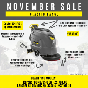 November Sale for Karcher Scrubber Driers. Amazing Price, will not find a better price anywhere else!
